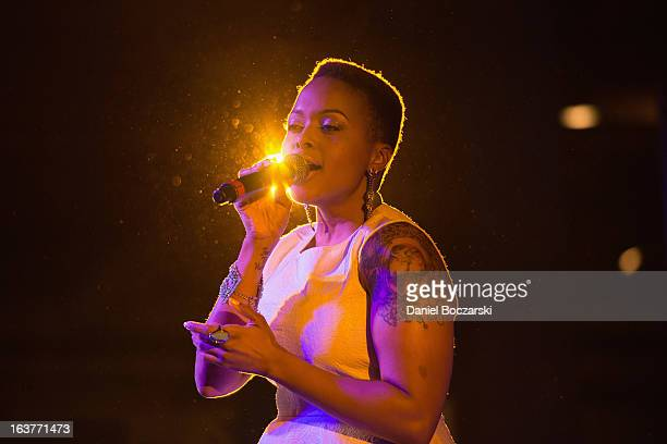 Chrisette Michelle performs during BET Music Matters Showcase at SXSW at Brazos Hall on March 14 2013 in Austin Texas
