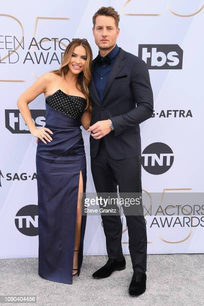 Chrishell Hartley and Justin Hartley attend the 25th Annual Screen ActorsGuild Awards at The Shrine Auditorium on January 27, 2019 in Los Angeles,...