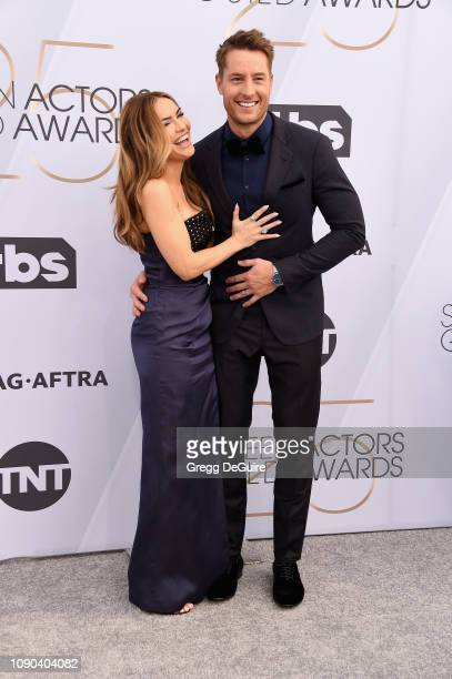 Chrishell Stause and Justin Hartley attend the 25th Annual Screen ActorsGuild Awards at The Shrine Auditorium on January 27 2019 in Los Angeles...