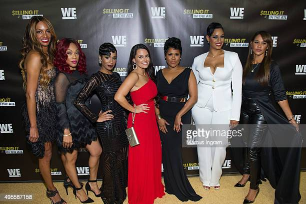 Chrishena Stanley A'Lana Banks Jae Christian Sarah Lowe Okevia Wilson Tahlia Diaz and Gwen Moss onstage during 'Selling It In the ATL' Premiere at...