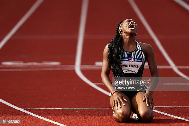 Chrishuna Williams third place reacts after the Women's 800 Meter Final during the 2016 US Olympic Track Field Team Trials at Hayward Field on July 4...