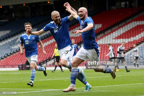 ChrisKane of St Johnstone celebrates with Shaun Rooney after scoring their team's first goal during the William Hill Scottish Cup Semi-Fianl match...