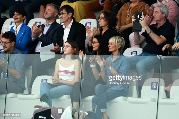 Chrislaure Nollet wife of Frank Leboeuf during the Legend Game FootballHandball on October 15 2018 in Creteil France