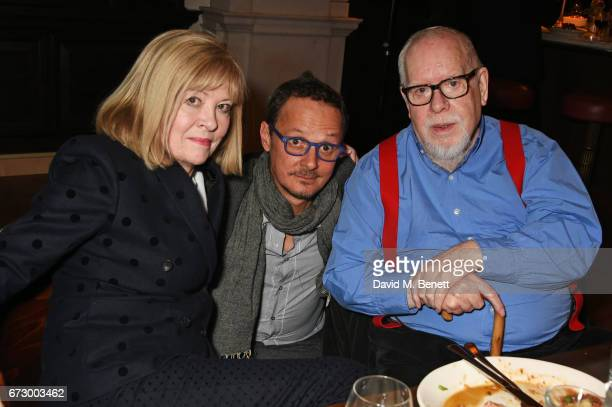 Chrissie Blake Jonathan Yeo and Sir Peter Blake attend a preopening dinner hosted by Kate Bryan at Zobler's Delicatessen at The Ned London on April...