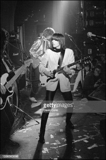 Chrissie Hynde and James Honeyman-Scott on guitar and Pete Farndon on bass guitar of The Pretenders performing at the Nashville Rooms, London, UK on...