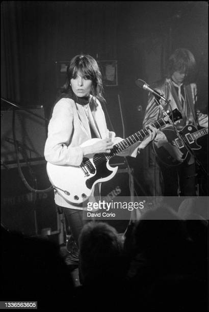 Chrissie Hynde and James Honeyman-Scott on guitar of The Pretenders performing at the Nashville Rooms, London, UK on 8 March 1979.