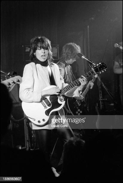 Chrissie Hynde and James Honeyman-Scott on guitar of The Pretenders performing at the Nashville Rooms, London, UK on 8 March 1979. Chrissie Hynde is...