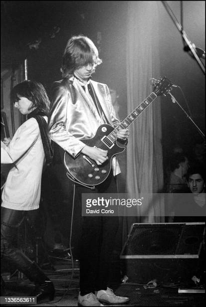 Chrissie Hynde and James Honeyman-Scott on guitar of The Pretenders performing at the Nashville Rooms, London, UK on 8 March 1979. James...