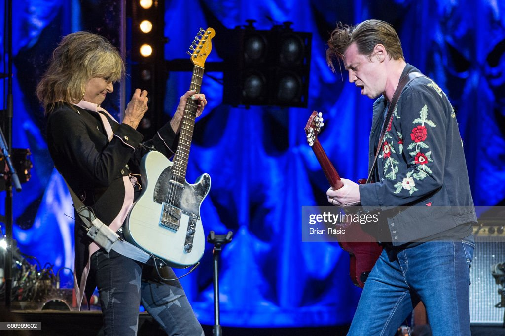 Chrissie Hynde and James Walbourne of The Pretenders perform at The Royal Albert Hall on April 10, 2017 in London, United Kingdom.