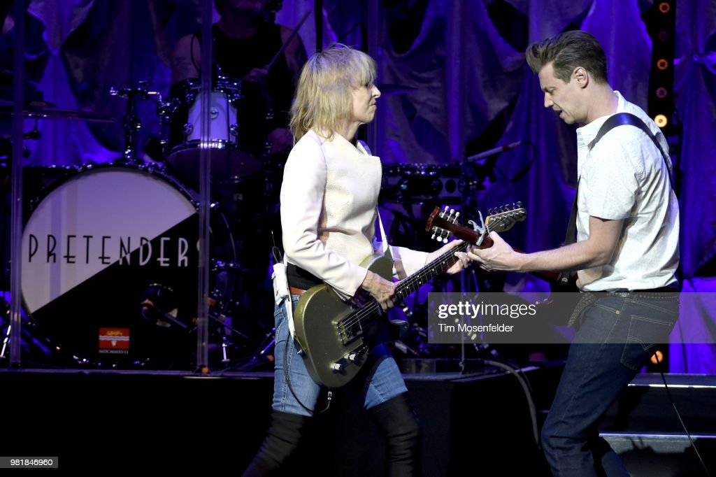 Chrissie Hynde (L) and James Walbourne of The Pretenders perform at The Masonic Auditorium on June 22, 2018 in San Francisco, California.