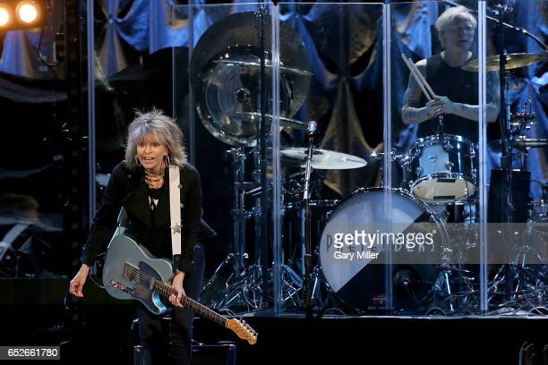 Chrissie Hynde and Martin Chambers perform in concert with The Pretenders at The Frank Erwin Center on March 12, 2017 in Austin, Texas.
