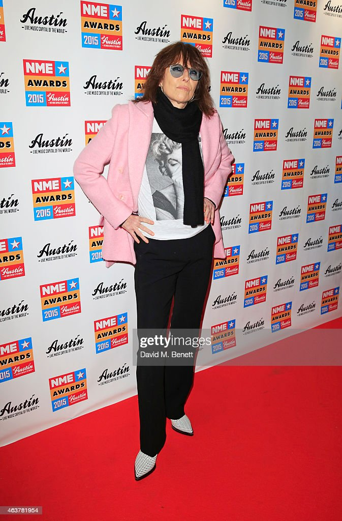 Chrissie Hynde arrives at the NME Awards at Brixton Academy on February 18, 2015 in London, England.