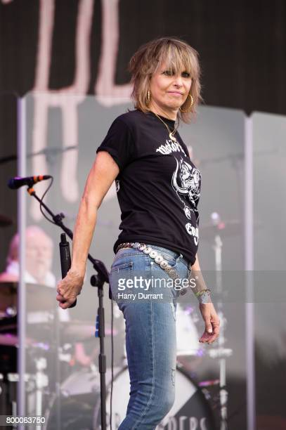 Chrissie Hynde from The Pretenders performs on The Other Stage on day 2 of the Glastonbury Festival 2017 at Worthy Farm, Pilton on June 23, 2017 in...