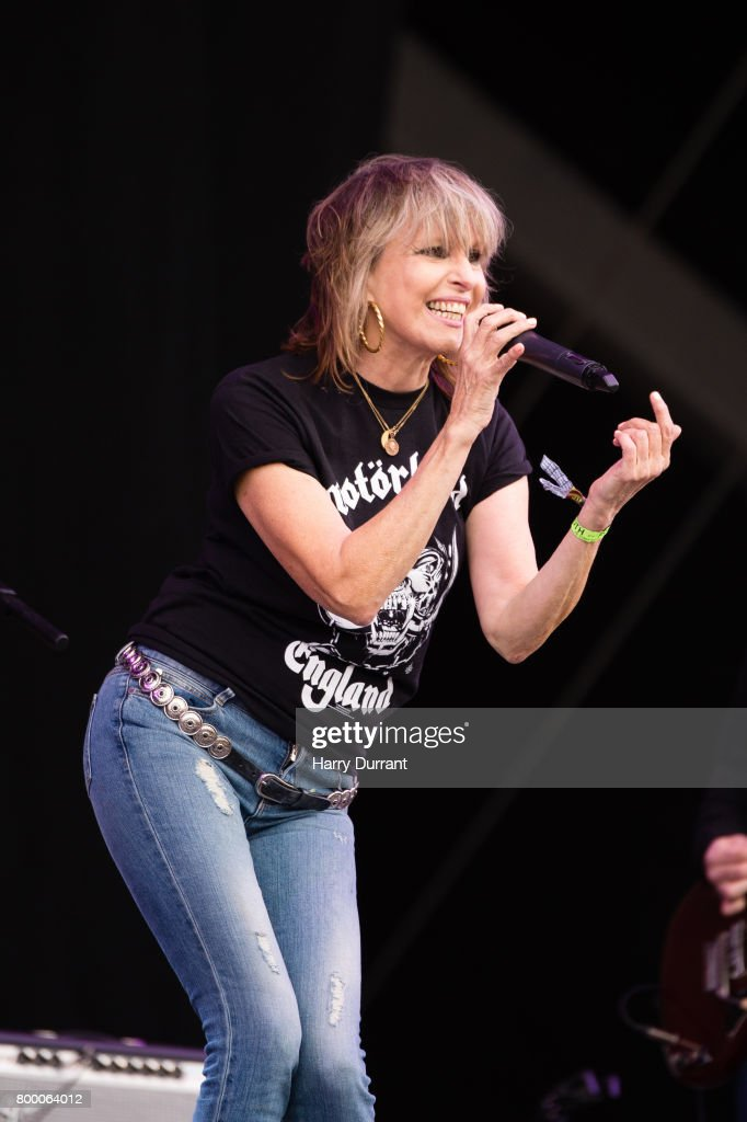 Chrissie Hynde from The Pretenders performs on The Other Stage on day 2 of the Glastonbury Festival 2017 at Worthy Farm, Pilton on June 23, 2017 in Glastonbury, England.