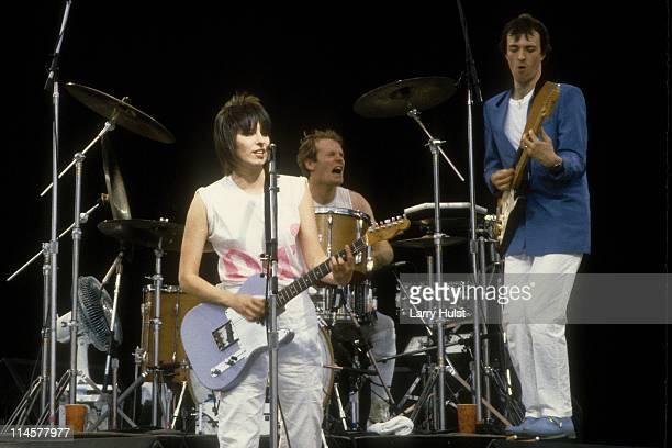 Chrissie Hynde Martin Chambers and Robbie McIntosh performs as 'the Pretenders' at the US festival in DevoreCaliforn in Devore California on May 30...
