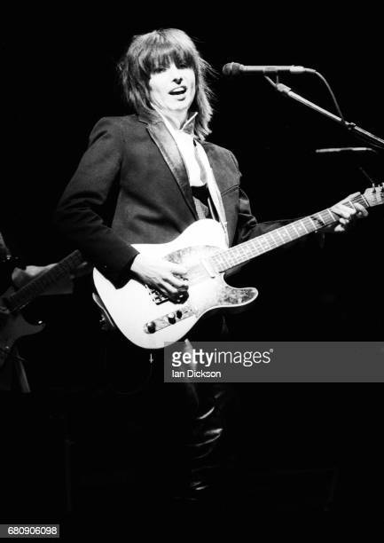 Chrissie Hynde of Pretenders performing on stage at Hammersmith Odeon London 14 January 1984