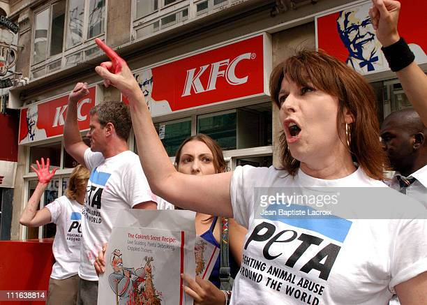 Chrissie Hynde of The Pretenders and PETA just minutes before being arrested for disorderly conduct for their protest against KFC's treatment of...
