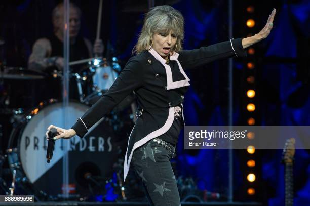 Chrissie Hynde of The Pretenders performs at The Royal Albert Hall on April 10 2017 in London United Kingdom