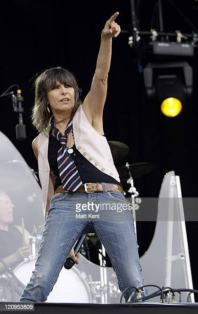 Chrissie Hynde of The Pretenders performs on day two of Hard Rock Calling at Hyde Park on June 27 2009 in London England