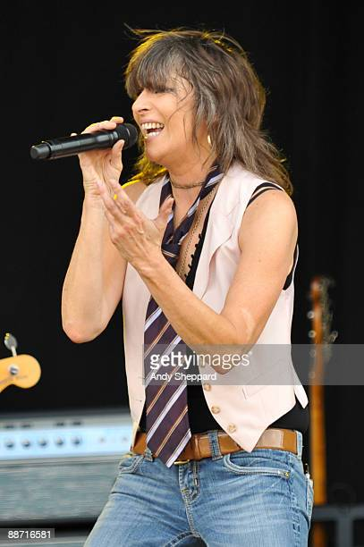 Chrissie Hynde of The Pretenders performs on stage on day 2 of Hard Rock Calling 2009 in Hyde Park on June 27 2009 in London England