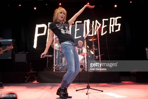 Chrissie Hynde of The Pretenders performs onstage during 52nd edition of Heineken Jazzaldia Festival on July 21, 2017 in San Sebastian, Spain.