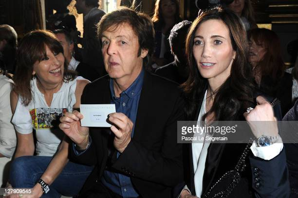 Chrissie Hynde Paul McCartney and Nancy Shevell attend the Stella McCartney Ready to Wear Spring / Summer 2012 show during Paris Fashion Week on...