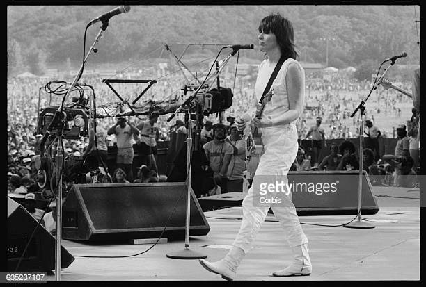 Chrissie Hynde performs with The Pretenders at the 1983 US Festival