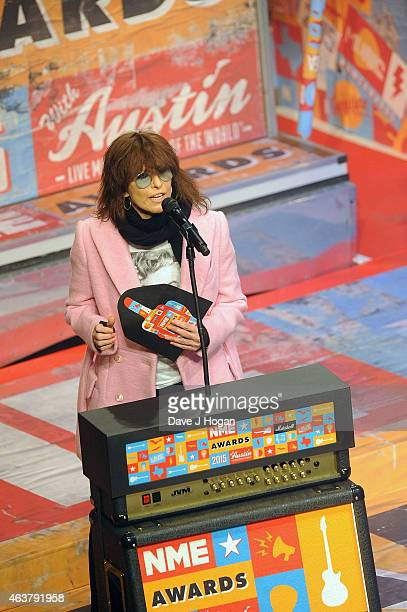 Chrissie Hynde presents at the NME Awards at Brixton Academy on February 18 2015 in London England