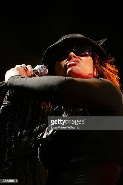 Chrissy Amphlett of the band the Divinyls performs on stage at Homebake an annual Australian music festival held in the Domain on December 8 2007 in...