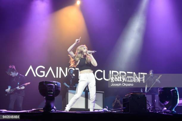 Chrissy Costanza of Against The Current performs at The O2 Arena on March 31 2018 in London England