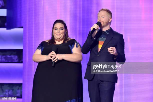 Chrissy Metz and Jesse Tyler Furgeson onstage during the 2017 American Music Awards at Microsoft Theater on November 19 2017 in Los Angeles California