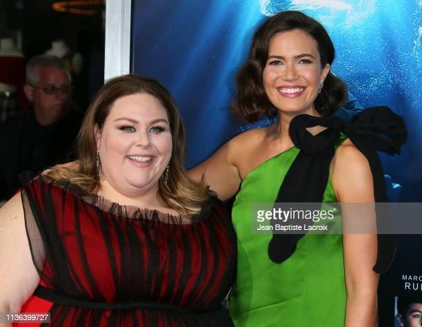 Chrissy Metz and Mandy Moore attend the premiere of 20th Century Fox's 'Breakthrough' at Westwood Regency Theater on April 11 2019 in Los Angeles...