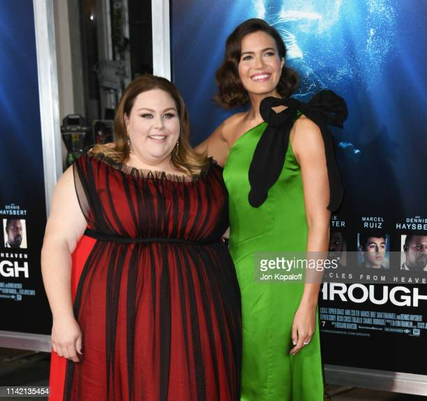 Chrissy Metz and Mandy Moore attend the premiere of 20th Century Fox's Breakthrough at Westwood Regency Theater on April 11 2019 in Los Angeles...