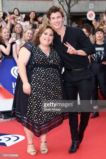 Chrissy Metz and Shawn Mendes arrive at the 2018 iHeartRadio MuchMusic Video Awards at MuchMusic HQ on August 26 2018 in Toronto Canada