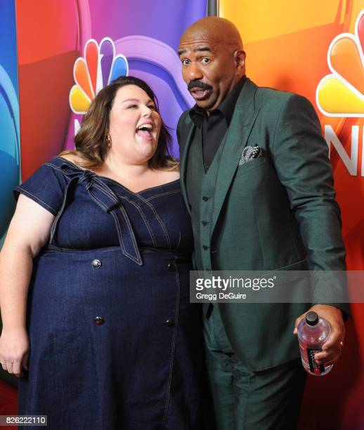 Chrissy Metz and Steve Harvey arrive at the 2017 Summer TCA Tour NBC Press Tour at The Beverly Hilton Hotel on August 3 2017 in Beverly Hills...