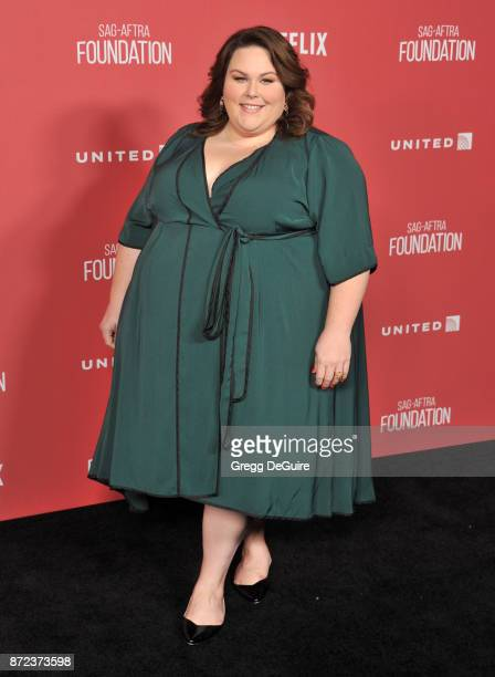 Chrissy Metz arrives at the SAGAFTRA Foundation Patron of the Artists Awards 2017 on November 9 2017 in Beverly Hills California