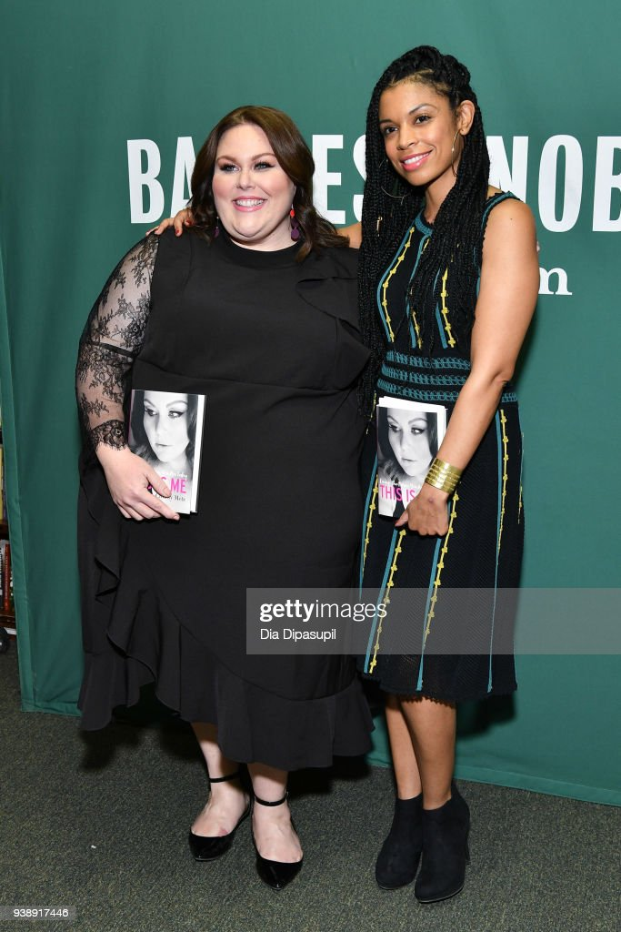 Chrissy Metz (L) poses with Susan Kelechi Watson as she promotes her book 'This is Me' at Barnes & Noble Union Square on March 27, 2018 in New York City.