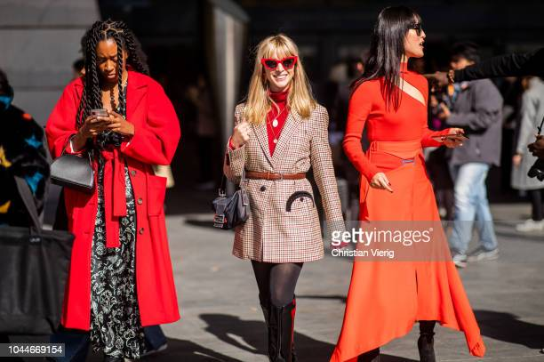 Chrissy Rutherford Kerry Peri Nicole Warne seen outside Giambattista Valli during Paris Fashion Week Womenswear Spring/Summer 2019 on October 1 2018...