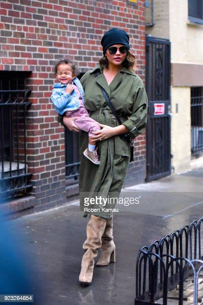Chrissy Teigen and and baby Luna Legend seen out and about on a rainy day in Manhattan on February 22 2018 in New York City