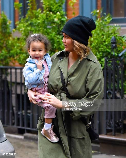 Chrissy Teigen and and her daughter Luna Legend seen out shopping in Manhattan on February 22 2018 in New York City
