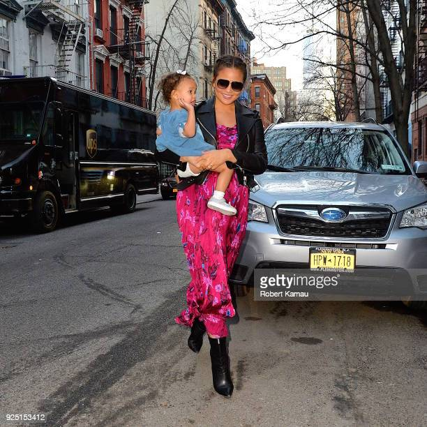 Chrissy Teigen and baby Luna seen out in Manhattan on February 27, 2018 in New York City.