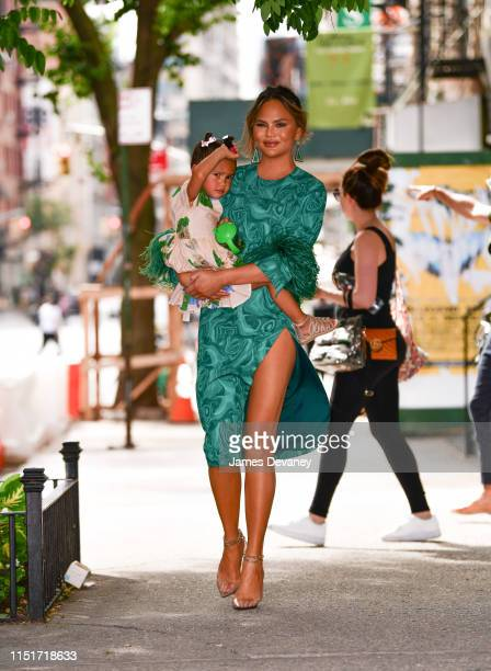 Chrissy Teigen and daughter Luna Stephens seen on the streets of Manhattan on June 24 2019 in New York City