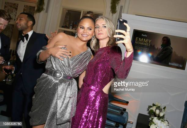 Chrissy Teigen and Ever Carradine attend Hulu's 2018 Emmy Party at Nomad Hotel Los Angeles on September 17 2018 in Los Angeles California