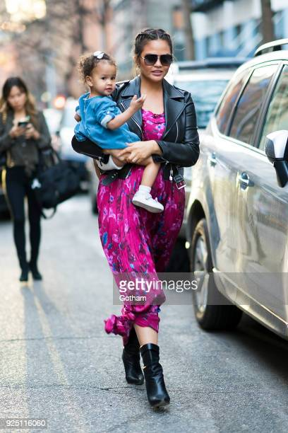Chrissy Teigen and her daughter Luna seen in SoHo on February 27 2018 in New York City