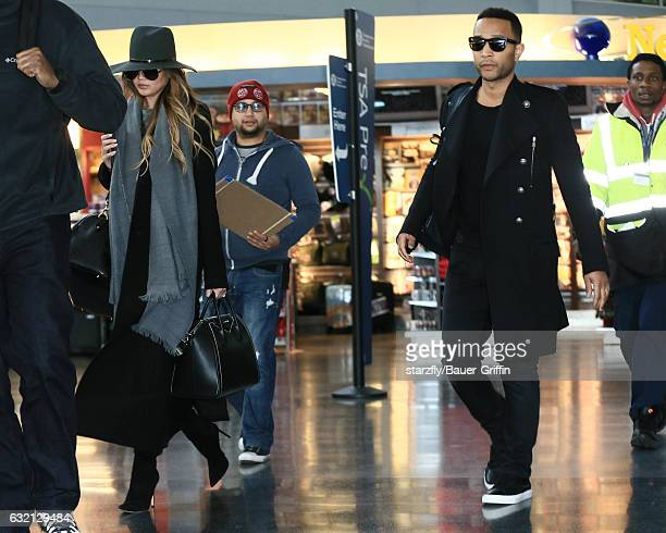 Chrissy Teigen and John Legend are seen at JFK on January 19 2017 in New York City