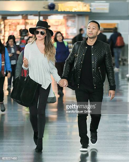 Chrissy Teigen and John Legend are seen at JFK on November 14 2016 in New York City