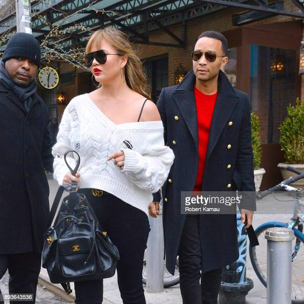 Chrissy Teigen and John Legend are seen in Manhattan on December 14 2017 in New York City