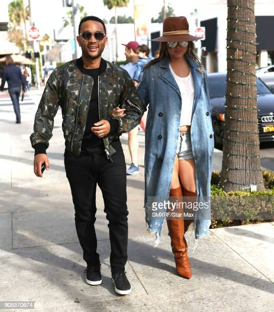 Chrissy Teigen and John Legend are seen on January 15 2018 in Los Angeles Californialifornia