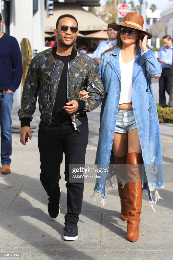 Chrissy Teigen and John Legend are seen on January 15, 2018 in Los Angeles, California.