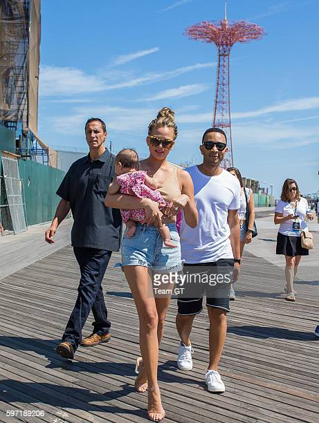 Chrissy Teigen and John Legend are seen walking to Sports Illustrated event at Coney Island on August 28 2016 in New York City